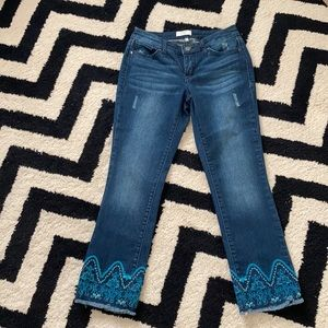 Crown and Ivy Bali embroidered frayed hem jeans